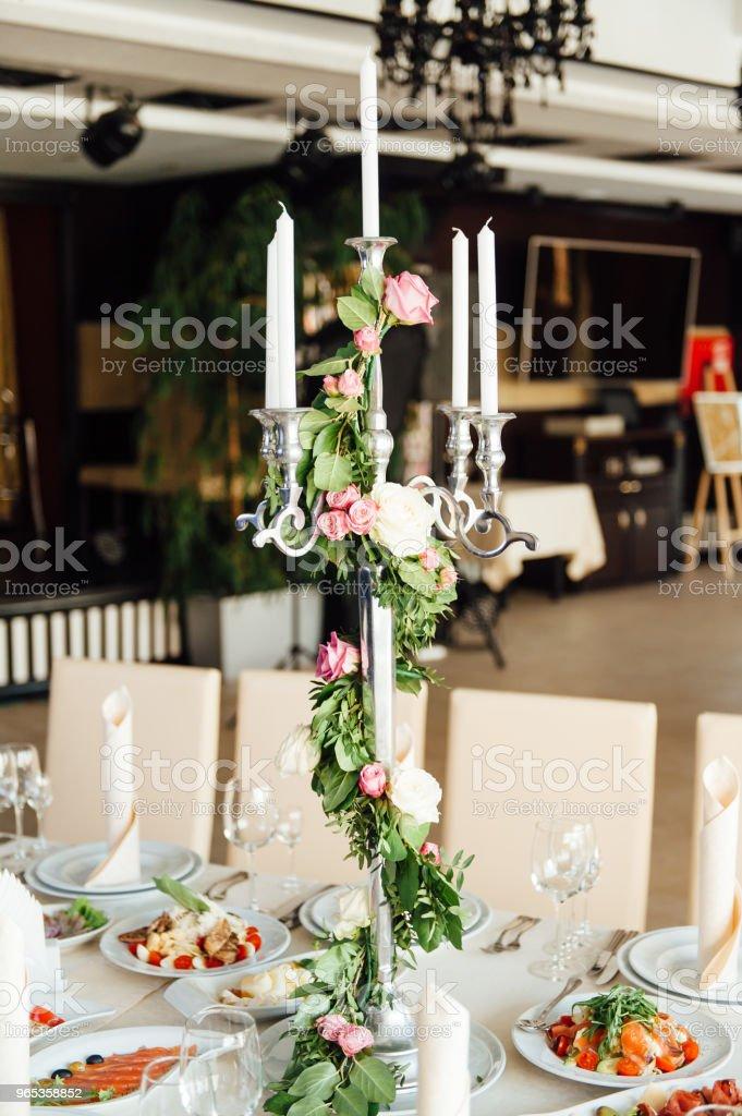 beautiful flowers on table in wedding day zbiór zdjęć royalty-free