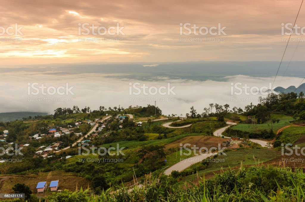 Beautiful fog and cloud on Hmong village in Phu Thap Boek, Thailand. royalty-free stock photo