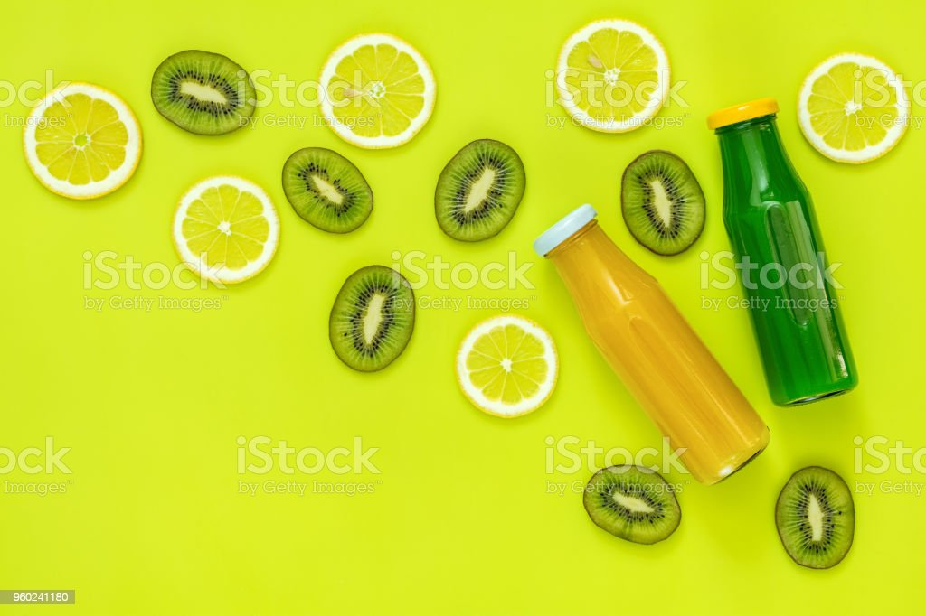 Beautiful food art background with juice and fruits stock photo