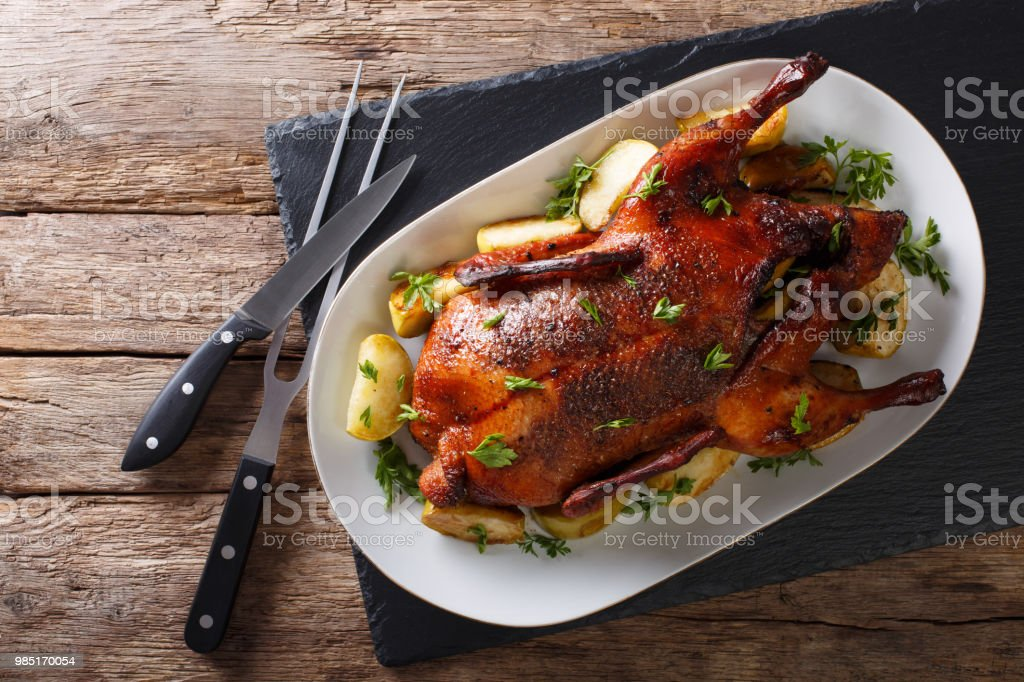 Beautiful food: baked whole duck with apples close-up on a platter. horizontal top view stock photo