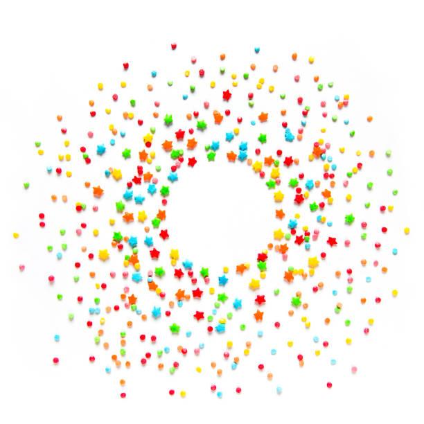 beautiful food frame with multicolored sprinkles - posypka zdjęcia i obrazy z banku zdjęć