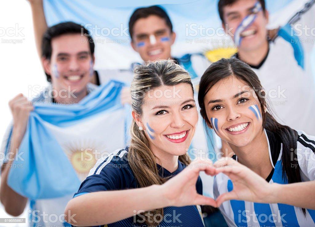 Beautiful football fans stock photo