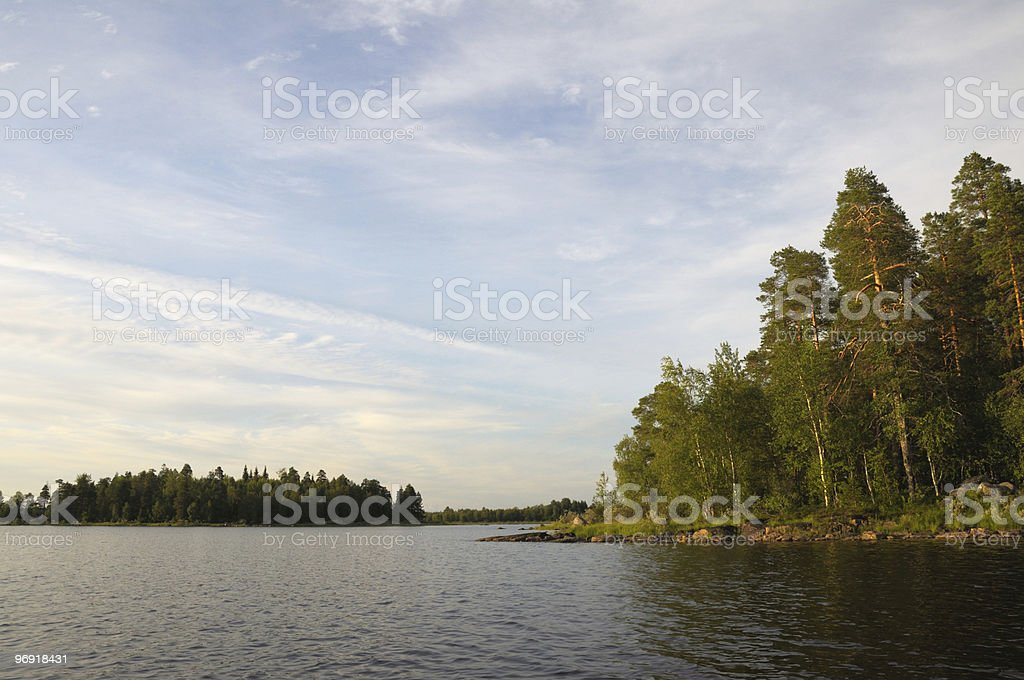 Beautiful forest, lake and huge boulders royalty-free stock photo