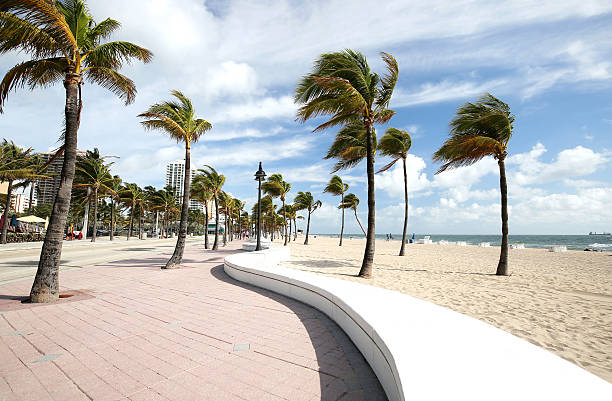 Beautiful Fort Lauderdale Beach and the curved wave wall stock photo
