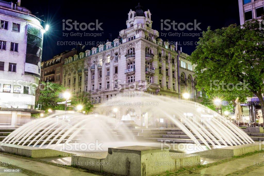 Beautiful fountain in Belgrade dowtown in Knez Mihajlova street, Serbia stock photo