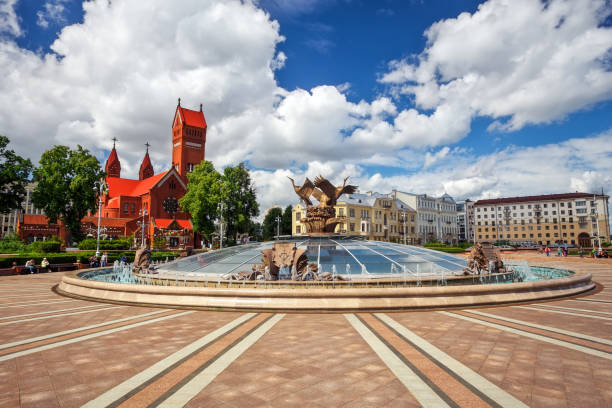Beautiful fountain in Independence Square in Minsk stock photo