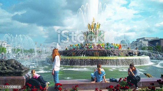Moscow, Russia - July 2019: Beautiful Fountain Stone Flower after restoration in 2019