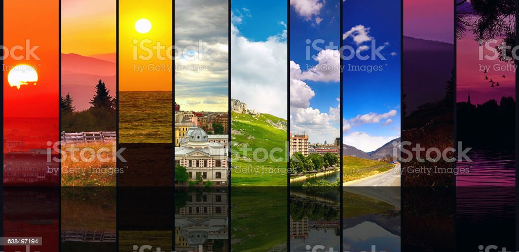 Beautiful Four seasons collage stock photo