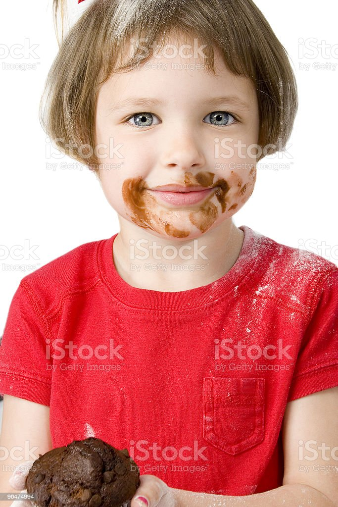 Beautiful Four Year Old with Chocolate Muffin royalty-free stock photo