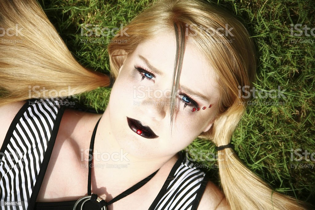 Beautiful Fourteen Year Old Girl in Goth royalty-free stock photo