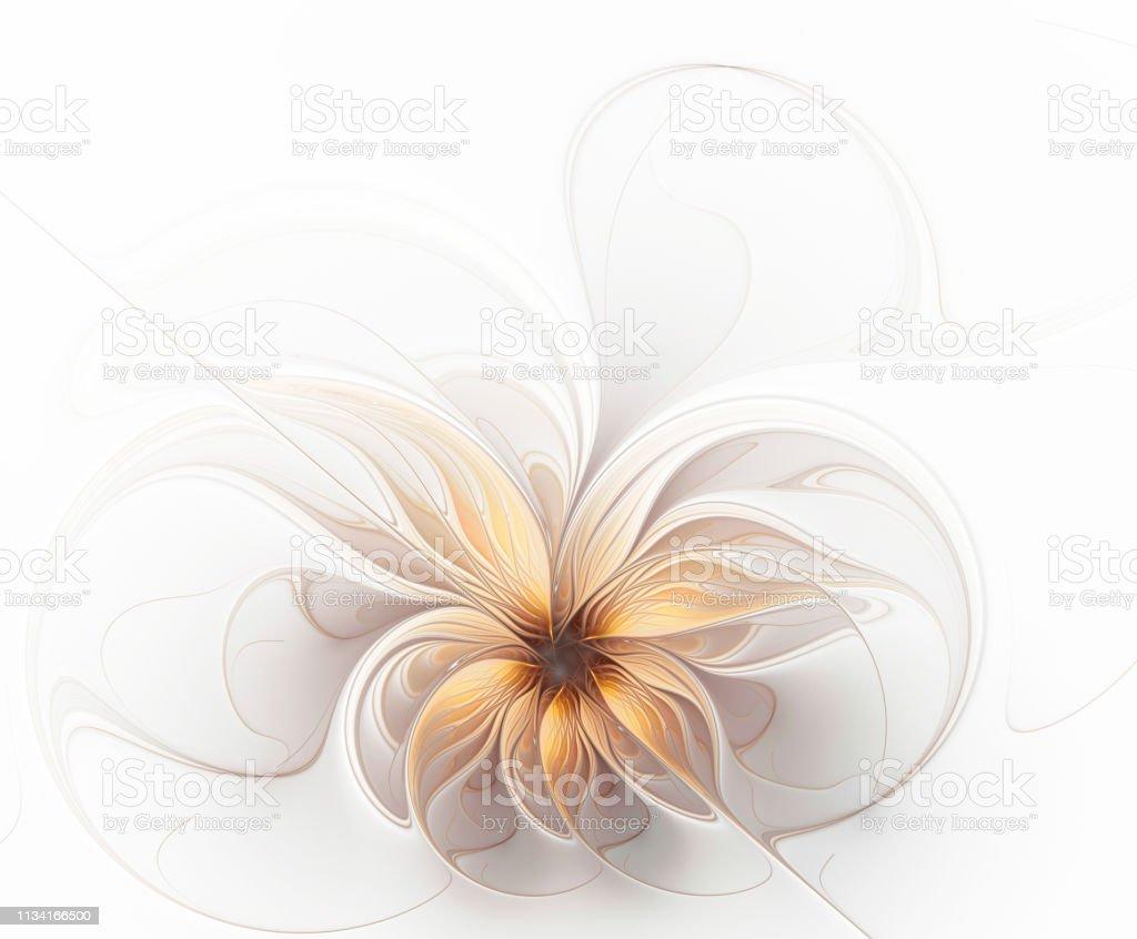 Flor bege dourada delicada do fractal bonito - Foto de stock de Abstrato royalty-free