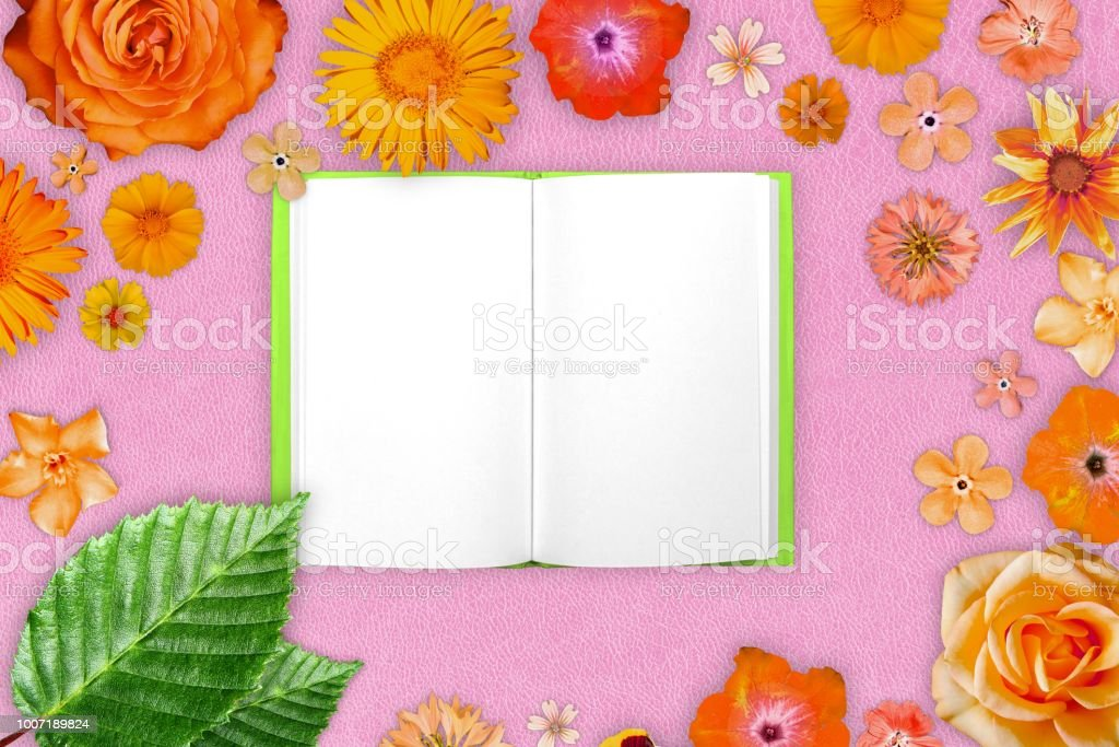 Beautiful frame of colored flowers with notepad in center on pink beautiful frame of colored flowers with notepad in center on pink hard leather background floral mightylinksfo