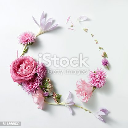 istock beautiful frame of roses in vintage style 611866632