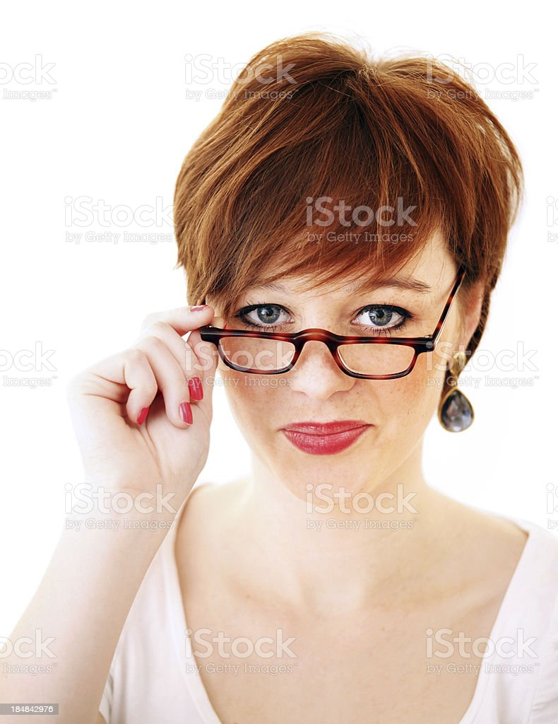 Beautiful, freckled young smiling woman with glasses on white stock photo