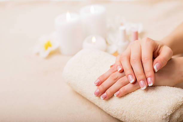 Beautiful French manicure stock photo