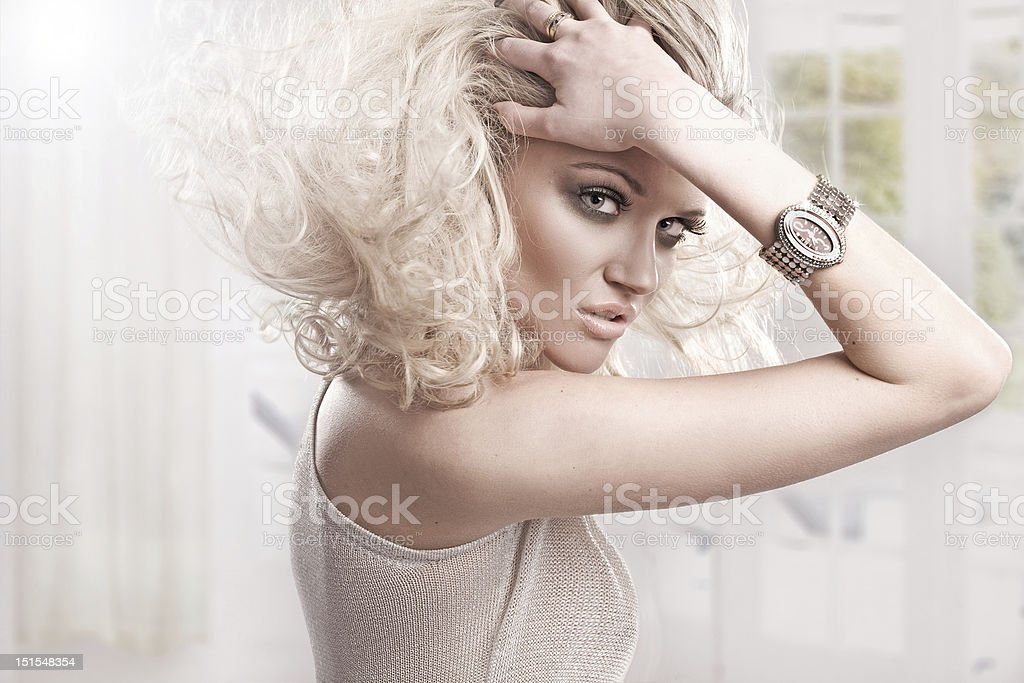 Beautiful fresh blond girl, perfect skin and hair royalty-free stock photo