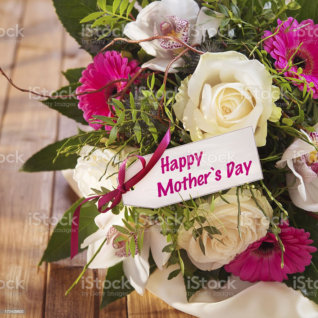 Beautiful Fresh Flower Bouquet With Mothers Day Card Stock Photo