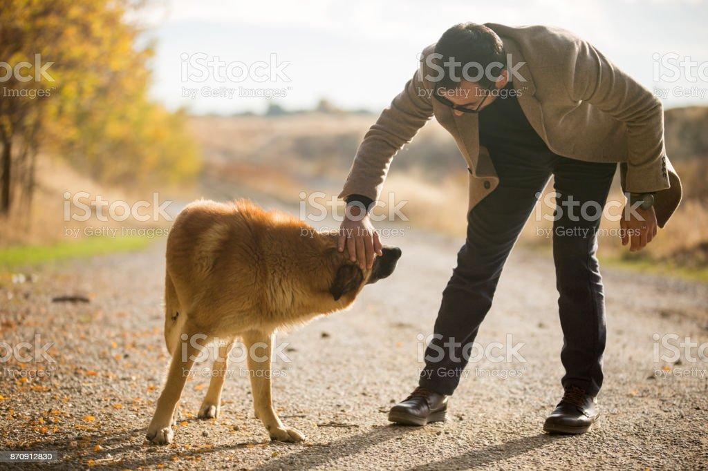 Beautiful friendship between dog and man