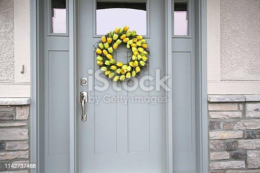 Beautiful Front Door Spring Tulip Wreath