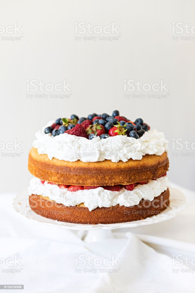 Belle, gâteau aux fruits nue sur un mur blanc - Photo