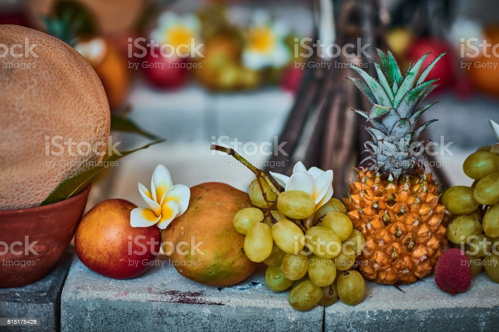 Beautiful fruits arranged with blurred background stock photo