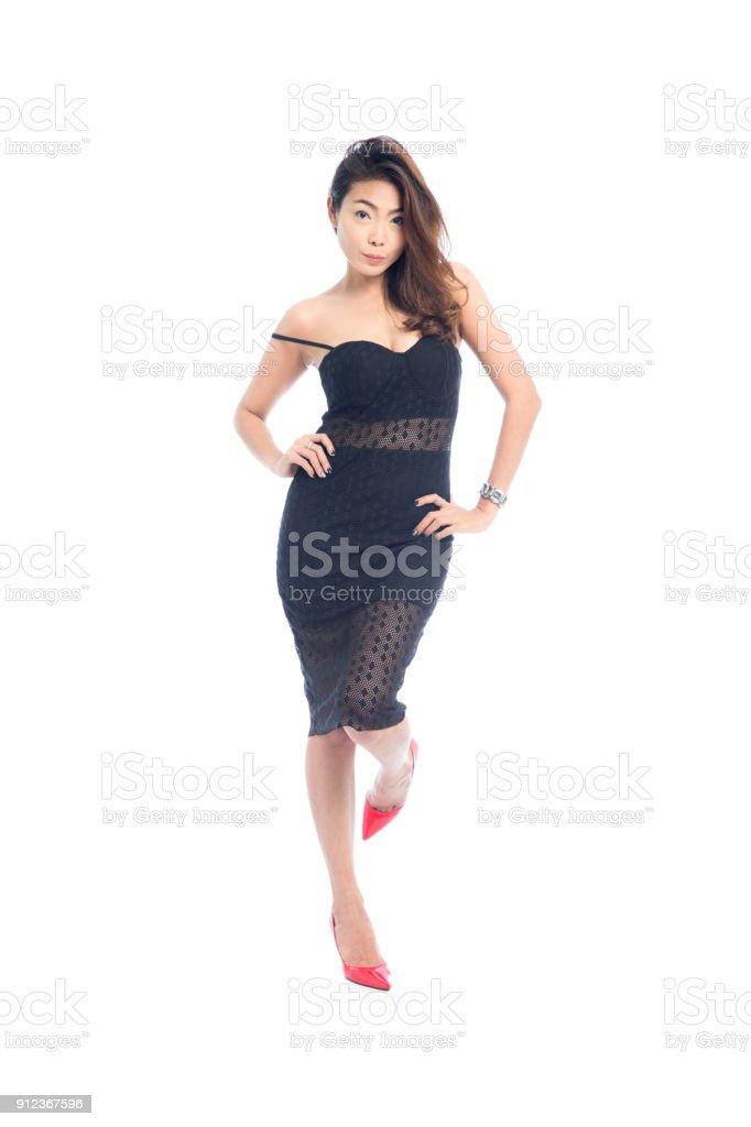0a6914f227d72 Schöne Ganzkörper Asiatische Frau Posiert In Sexy Aufreizendes ...
