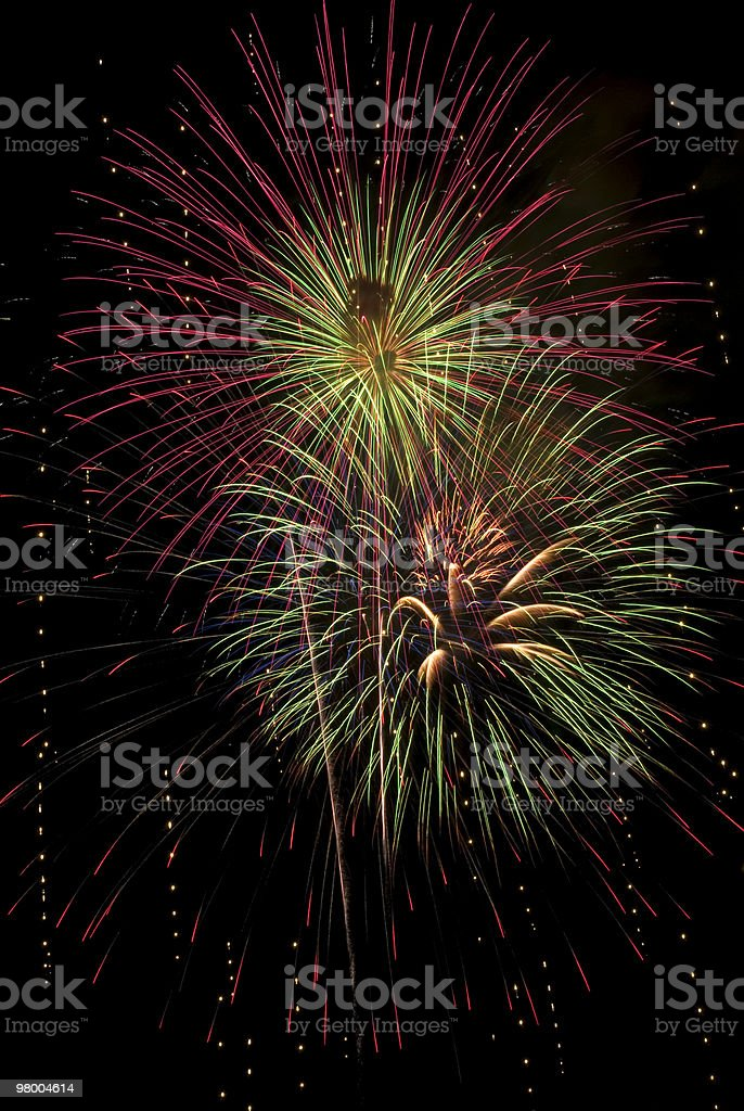 Beautiful Full Frame Fireworks Bursts royalty-free stock photo
