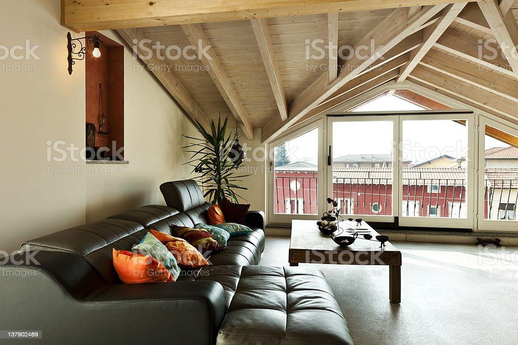 Beautiful furniture in a beautiful loft stock photo