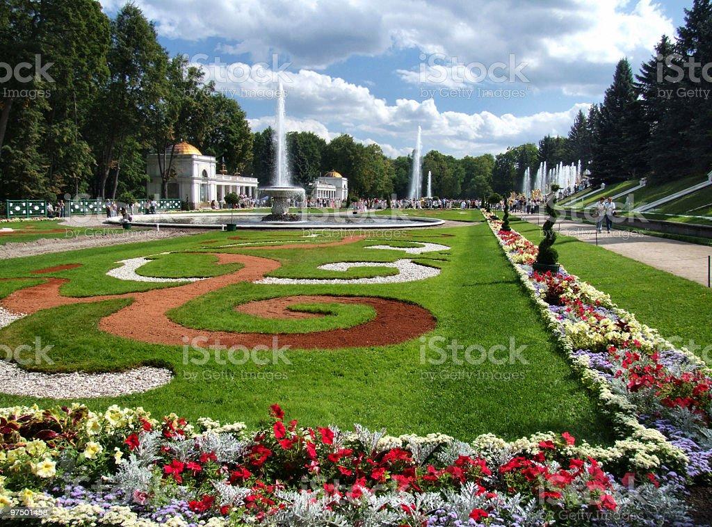 Beautiful garden complex in Peterhof royalty-free stock photo