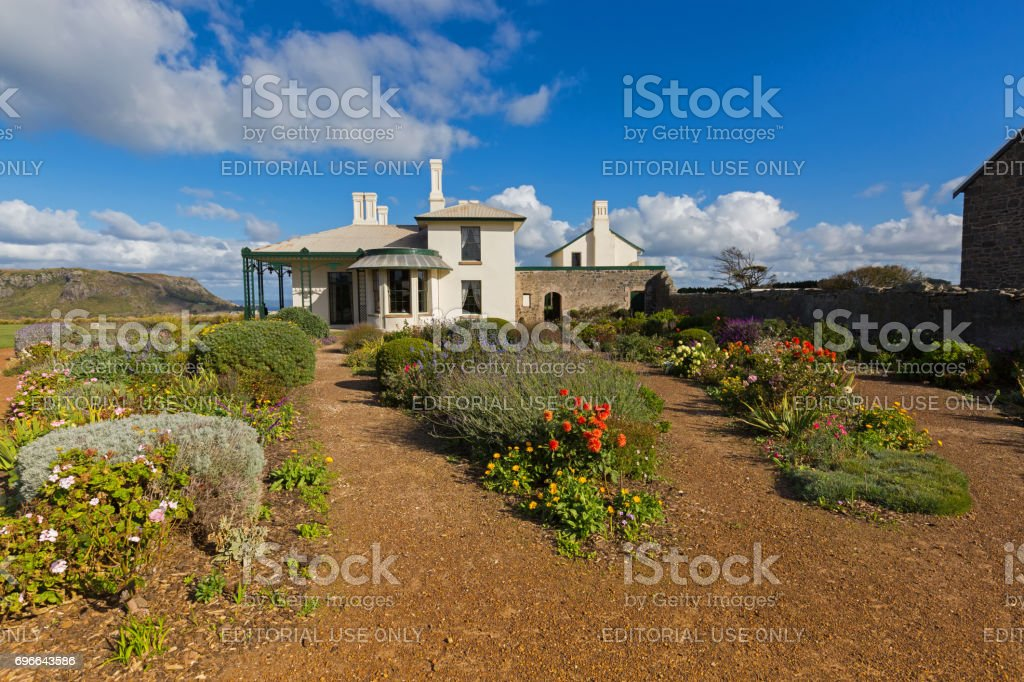 Beautiful garden full of colorful flowers at Historic Highfield House in Stanley, Tasmania Australia stock photo