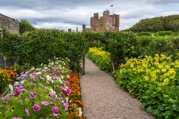 Beautiful garden of Castle of Mey, the favorite residence and holiday home of the Queen Mother. Castle of Mey, Caithness, Scotland, Britain, August 2017 stock photo