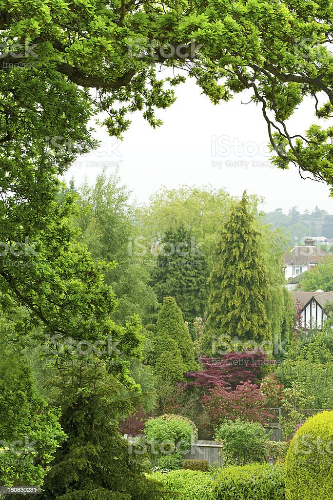 beautiful garden view from balcony stock photo