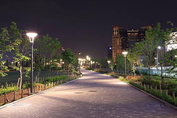 美しい庭の通路、ランプの夜 - 街灯 ストックフォトと画像