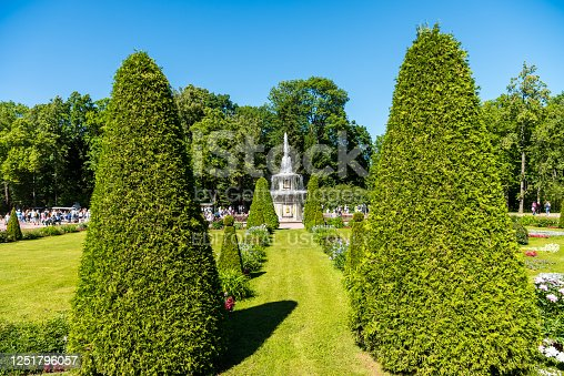 Beautiful garden with Roman fountain located at the Peterhof gardens, the summer palce of the Peter the great in Saint Petersburg, Russia.