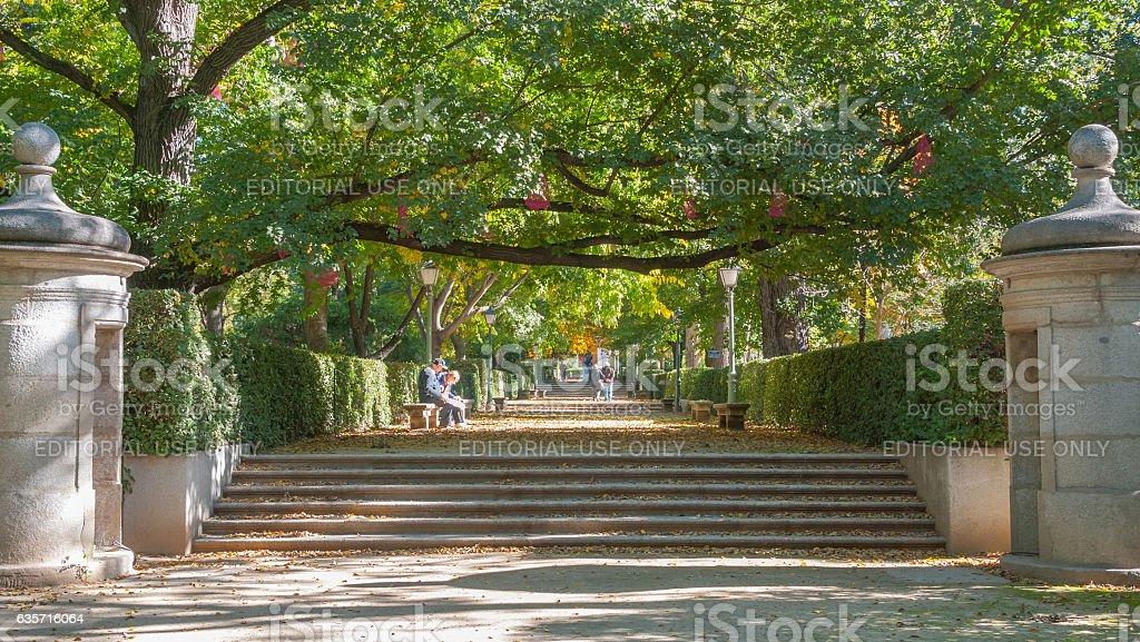 Beautiful gardens in the city of Madrid's Retiro park. royalty-free stock photo