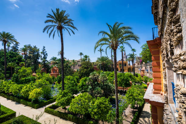 Beautiful Gardens in the Royal Alcázar Palace in Seville Spain stock photo