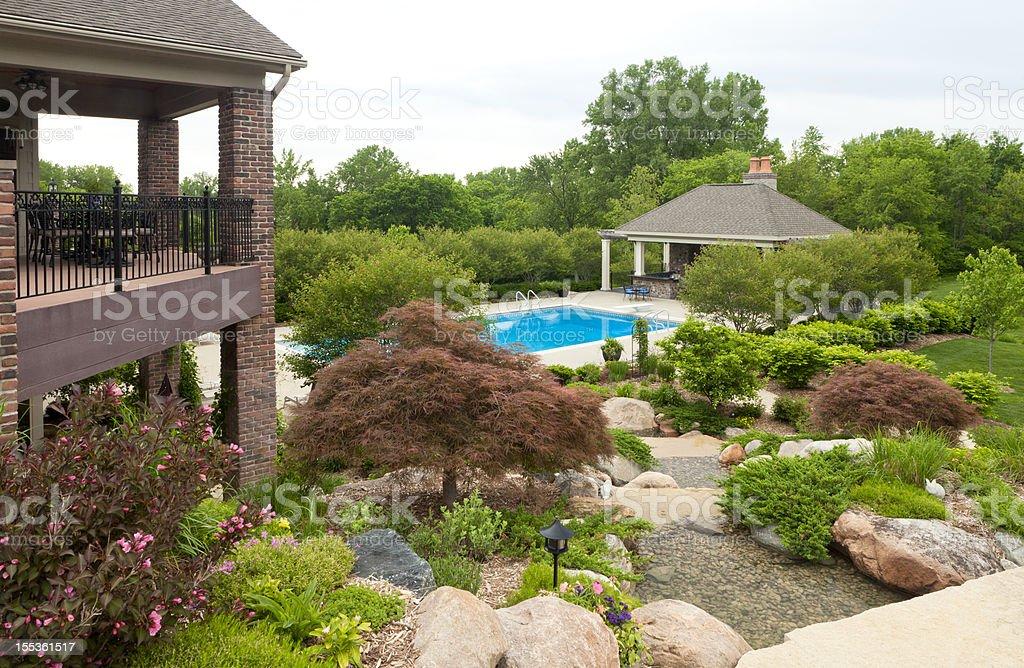 Schöner Garten Mit Swimmingpool Stock-Fotografie und mehr Bilder von ...