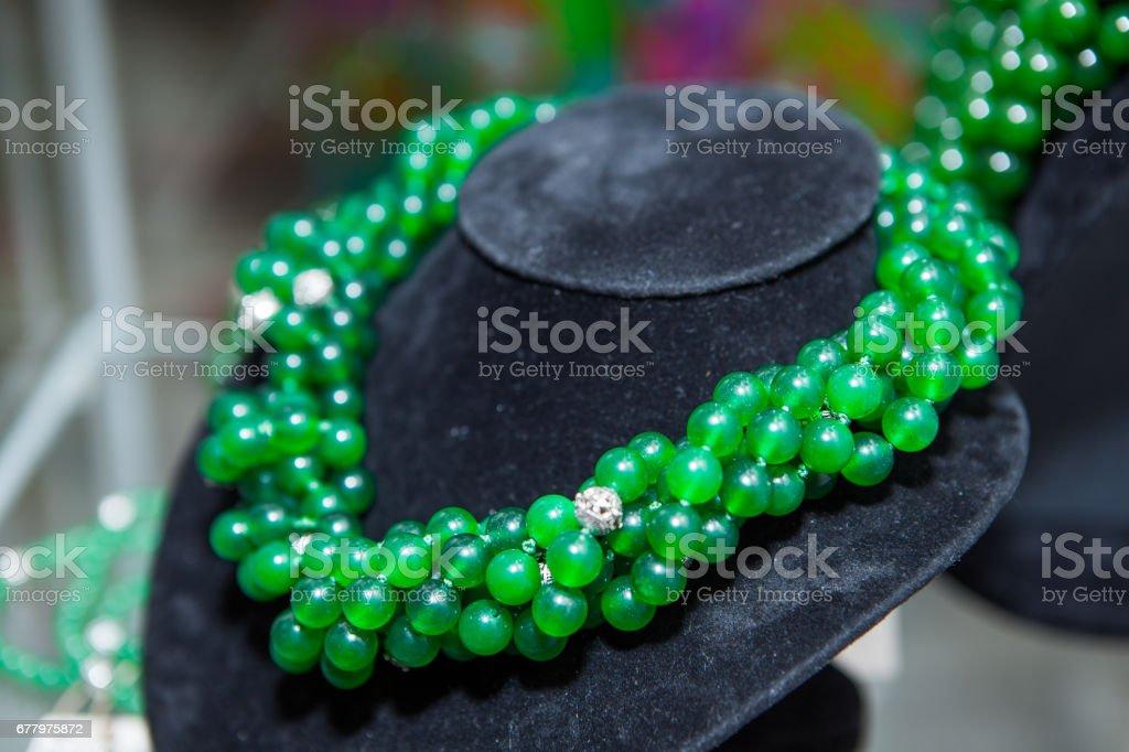 Beautiful gemstones beads on Shop-window stock photo