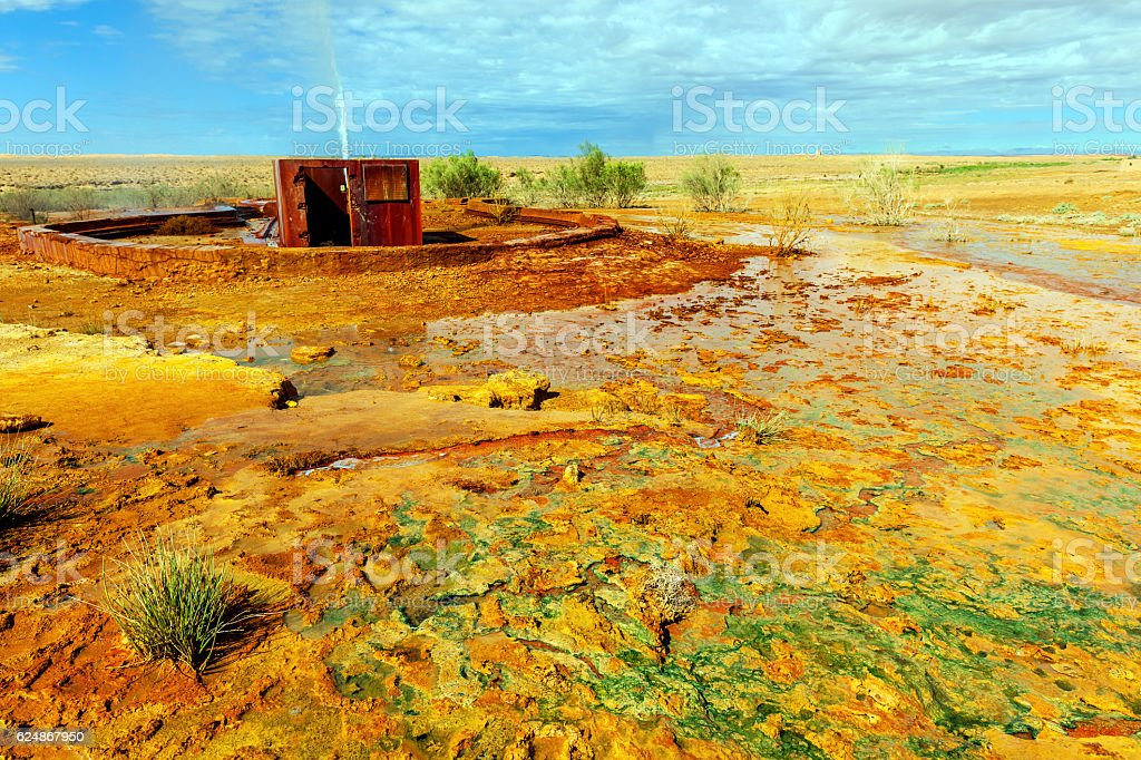 Beautiful Geyser Ain El Ati, Errachidia, Morocco, North Africa stock photo