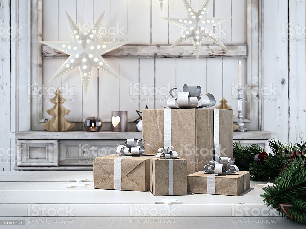 beautiful gift with Christmas ornaments. 3d rendering – Foto