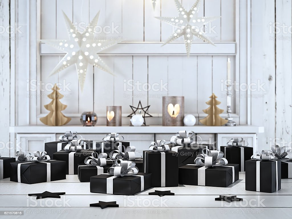 beautiful gift with Christmas ornaments. 3d rendering photo libre de droits
