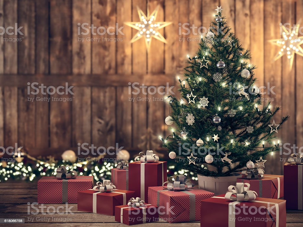 beautiful gift with Christmas tree. 3d rendering – Foto
