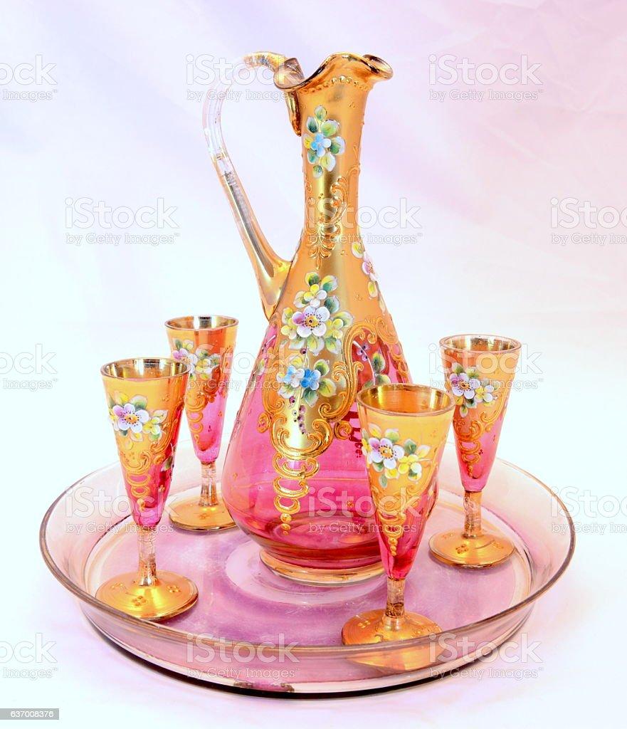 beautiful gilded vintage patterned jug стоковое фото