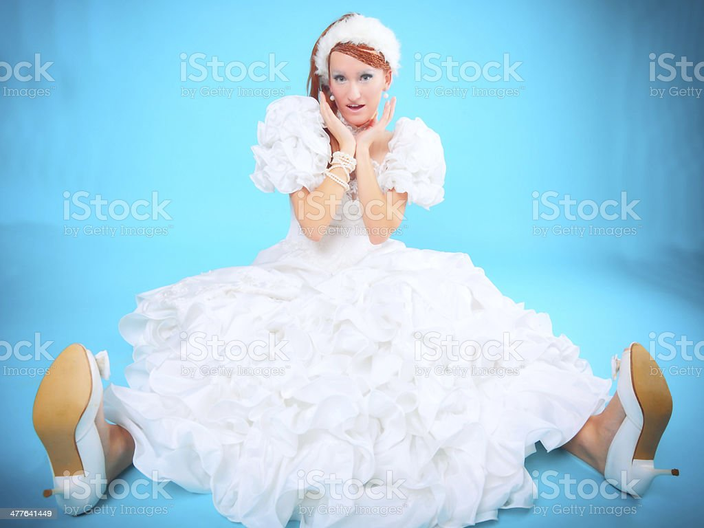 Beautiful ginger in a dress of Snow Queen royalty-free stock photo