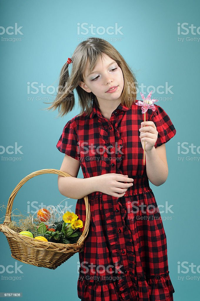 beautiful girl admiring toy royalty-free stock photo