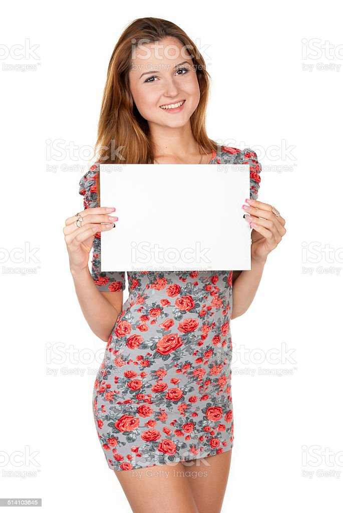 Beautiful girl and empty white blank stock photo