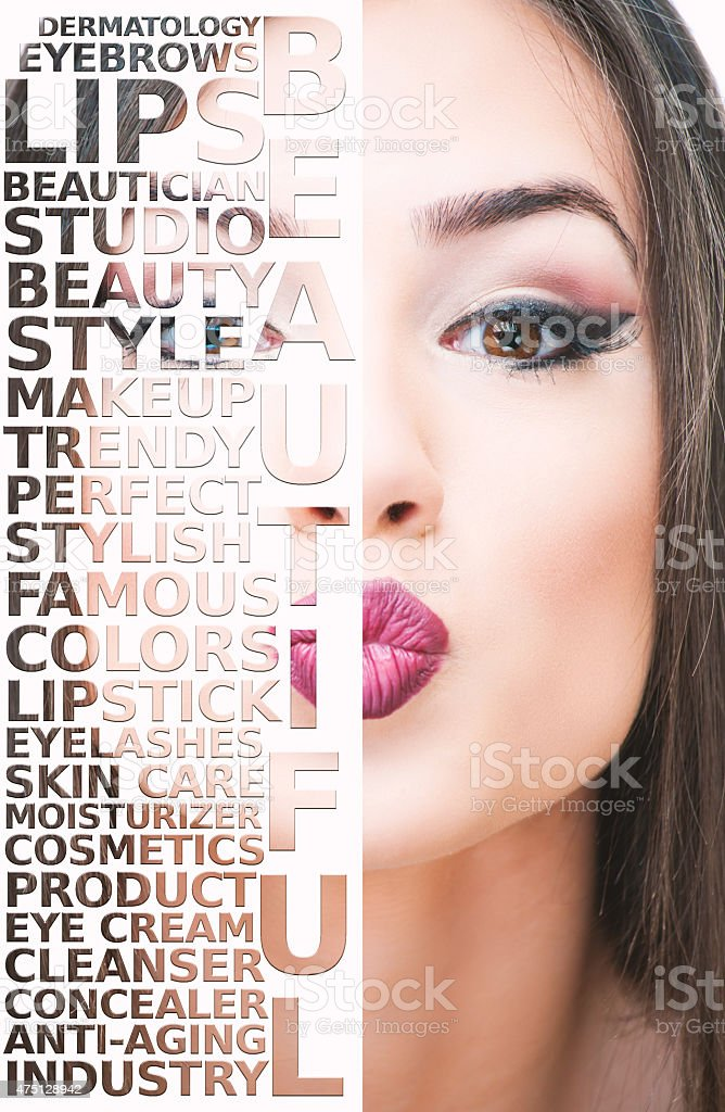 Beautiful girl and make-up words stock photo