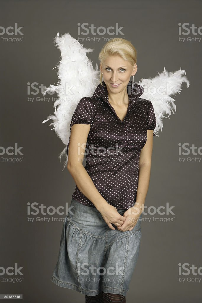 beautiful girl angel with wings stock photo