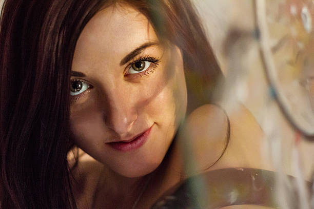 beautiful girl art with a painted dream catcher - traumfänger tattoos stock-fotos und bilder