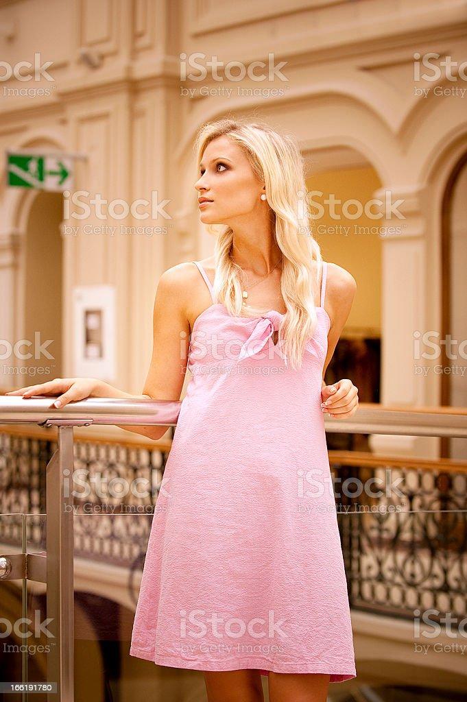 Beautiful girl at handrail royalty-free stock photo